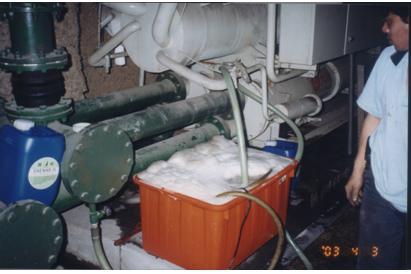 清洗完成後拆開冷卻水主機端蓋板
